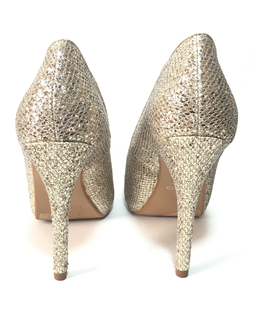 Aldo Gold & Silver Glitter Peep-toe Platform Pumps | Gently Used | - Secret Stash