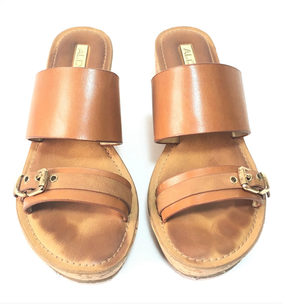 ALDO Tan Leather & Cork Wedges | Pre Loved |