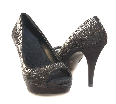 ALDO Black Rhinestone Suede Peep-toe Pumps | Pre Loved |
