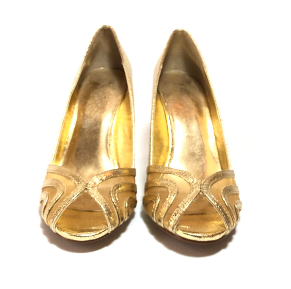 ALDO Foiled Gold Peep-toe Heels | Gently Used |