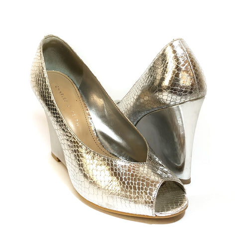 Charles & Keith Silver Textured Leather Peep-toe Wedges | Gently Used |