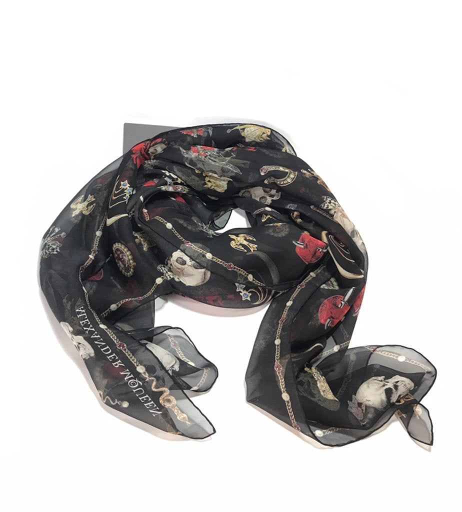 Alexander McQueen Black Silk Jeweled Scarf | Brand New | - Secret Stash
