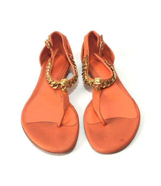 Alexander McQueen Orange Leather with Gold Chain & Skull Flats | Pre Loved |
