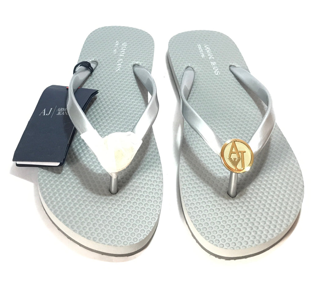 Armani Jeans Silver Rubber Flip Flops | Brand New | - Secret Stash