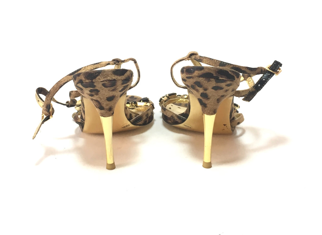 BCBGeneration Leopard Print & Rhinestone Heels | Gently Used | - Secret Stash