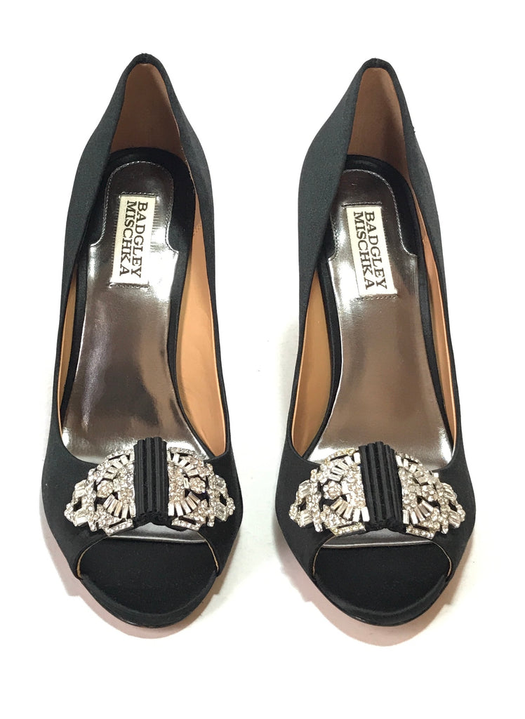 Badgley Mischka Black Satin Rhinestone Peep Toe Heels | Brand New |