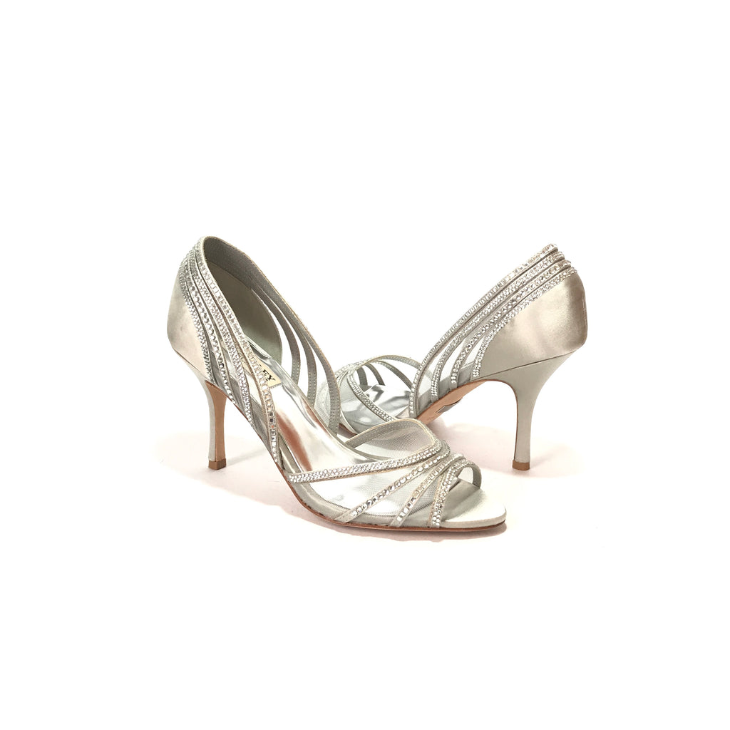 Badgley Mischka Light Grey Satin Rhinestone Heels | Like New |