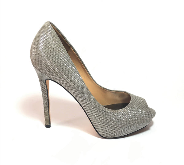 Badgley Mischka Silver Peep Toe Pumps | Pre Loved |