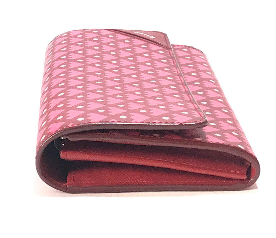 Bally Maroon & Pink Printed Leather Long Wallet | Brand New | - Secret Stash