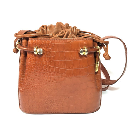 Bally Croc Embossed Vintage Drawstring Leather Satchel | Gently Used |
