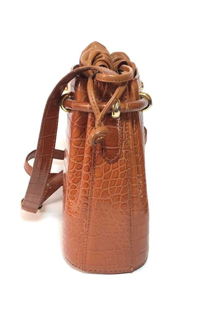 Bally Croc Embossed Vintage Drawstring Leather Satchel | Gently Used | - Secret Stash