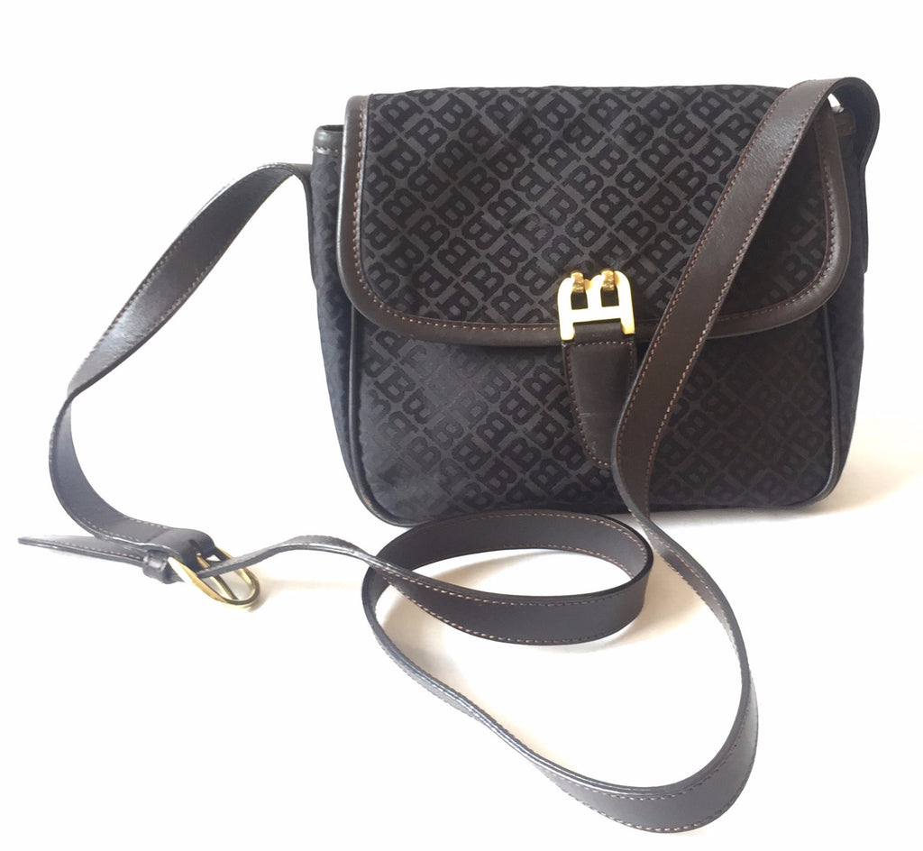 Bally Monogram Canvas with Leather Trim Cross Body Bag | Gently Used | - Secret Stash