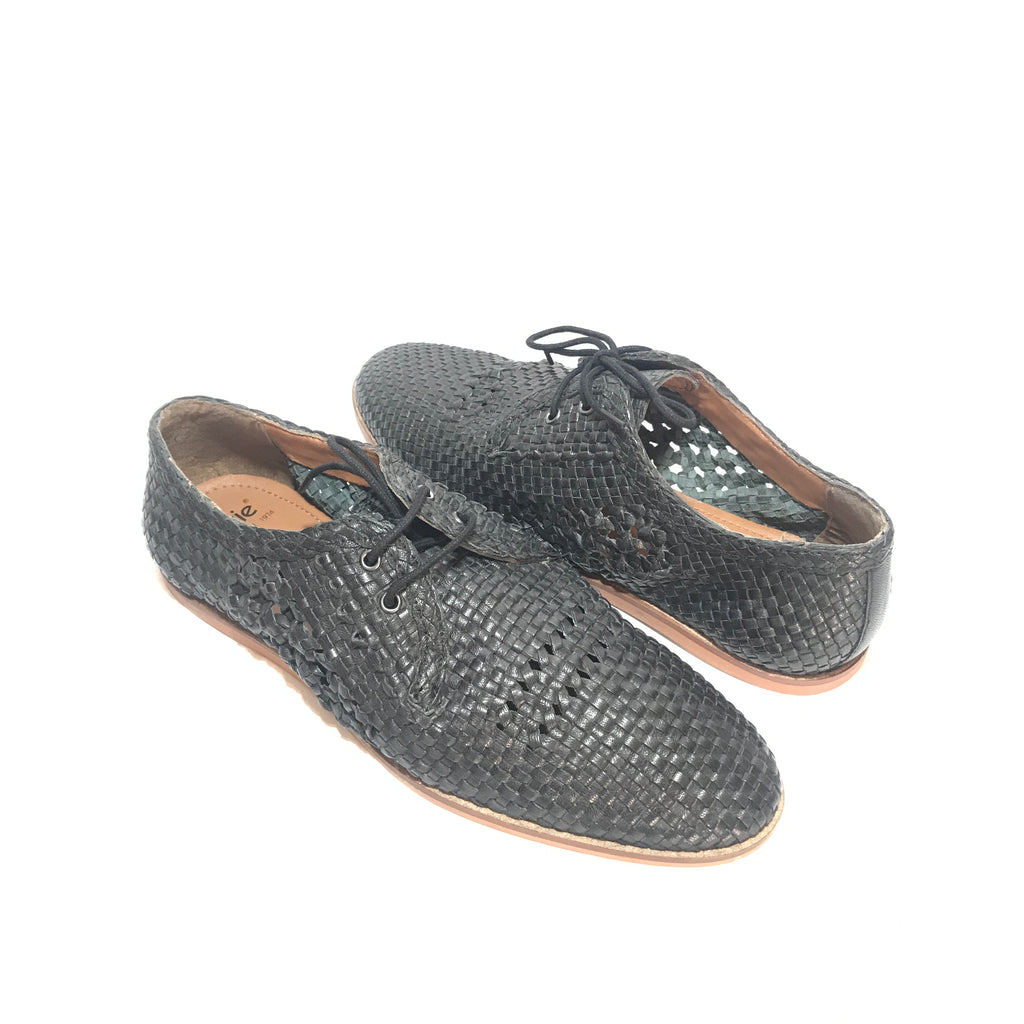 Bertie 'Bayfield' Men's Black Woven Lace-Up Shoes | Brand New |