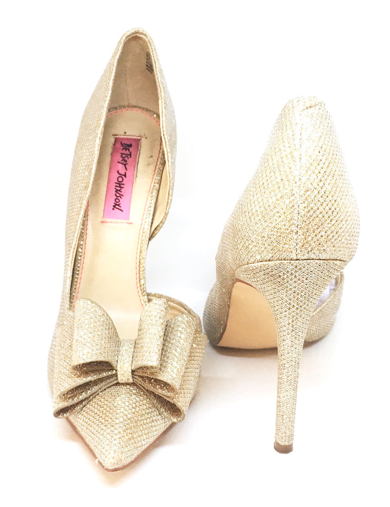 Betsey Johsnon Prince d'Orsay Glitter Bow Pumps | Gently Used | - Secret Stash