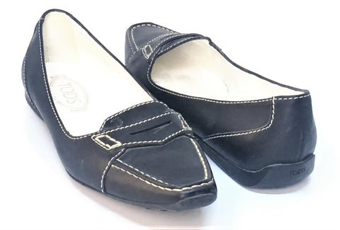 TOD'S Black Leather Square Toe Flats | Gently Used |