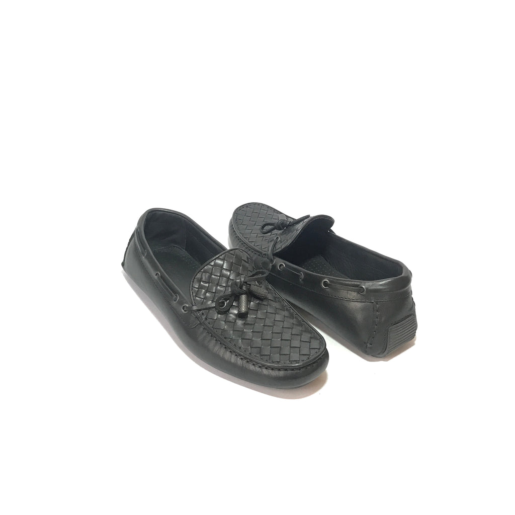 BOTTEGA VENETA Intrecciato Woven Black Leather Loafers | Like New |