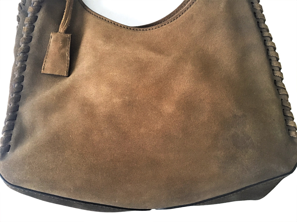Gucci Vintage Suede Leather Brown Western Shoulder Bag | Pre Loved |