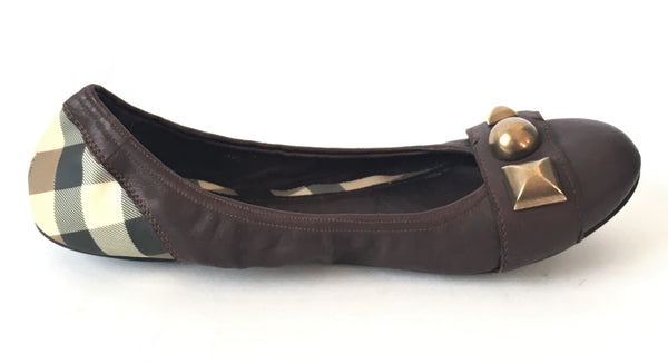 Burberry Leather & Signature Check Print Ballet Flats | Gently Used | - Secret Stash