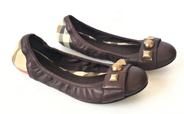 Burberry Leather & Signature Check Print Ballet Flats | Gently Used |