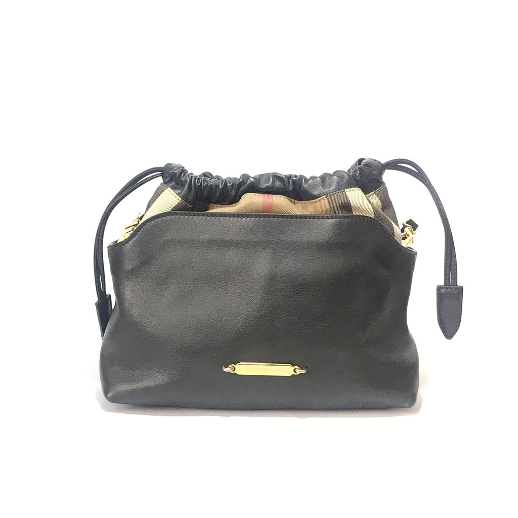 Burberry Black & Check Drawstring Crossbody Bag | Pre Loved |