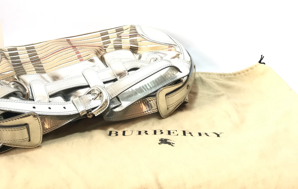 Burberry Sliced Check Silver Leather Large Beaton Bag | Pre Loved | - Secret Stash