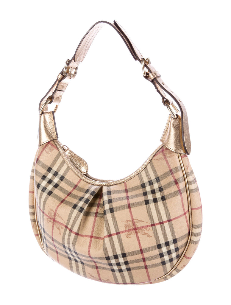 Burberry Haymarket Check Coated Canvas 'Rydal' Hobo Bag |Gently Used | - Secret Stash