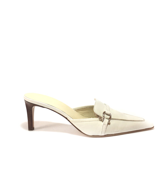 Burberry Vintage White Square Toe Leather Mules | Gently Used |