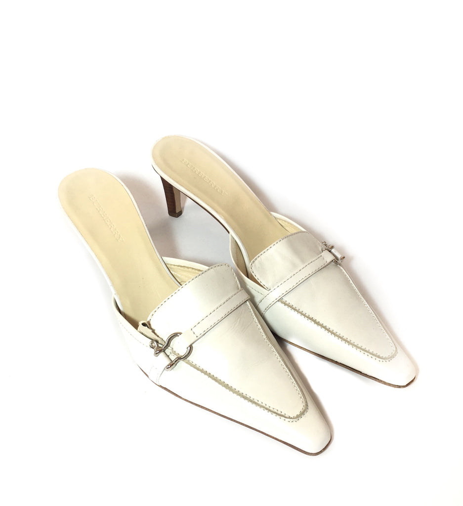 Burberry Vintage White Square Toe Leather Mules | Gently Used | - Secret Stash