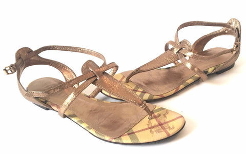 Burberry Haymarket 'Splash' Flat Sandals | Pre Loved |