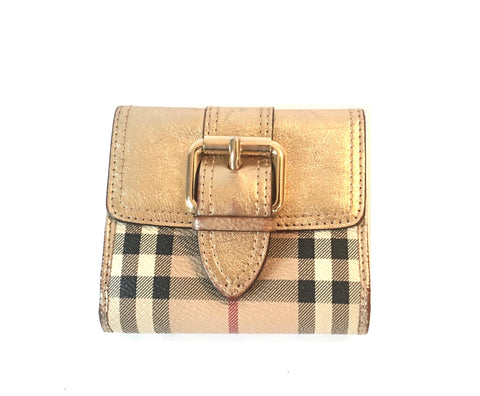Burberry Haymarket Check & Gold Leather Wallet | Gently Used |
