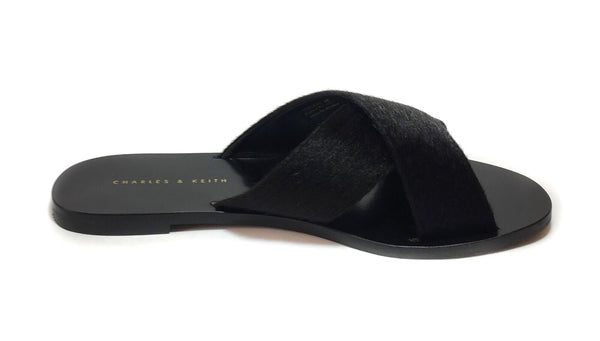 Charles & Keith Black Criss Cross Fur Slides | Brand New |