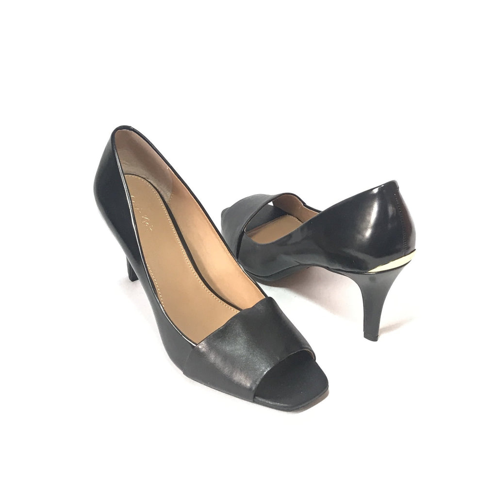Calvin Klein Black Leather Peep-Toe Pumps | Like New |