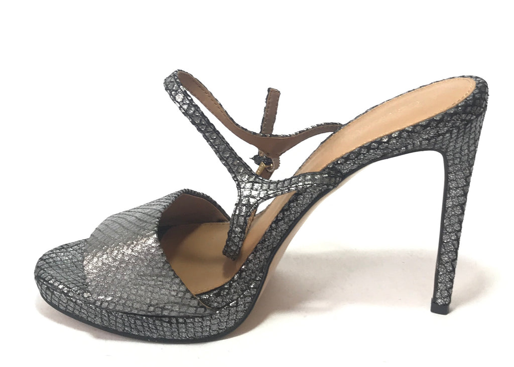 Calvin Klein Metallic Grey Snakeskin Heels | Like New |