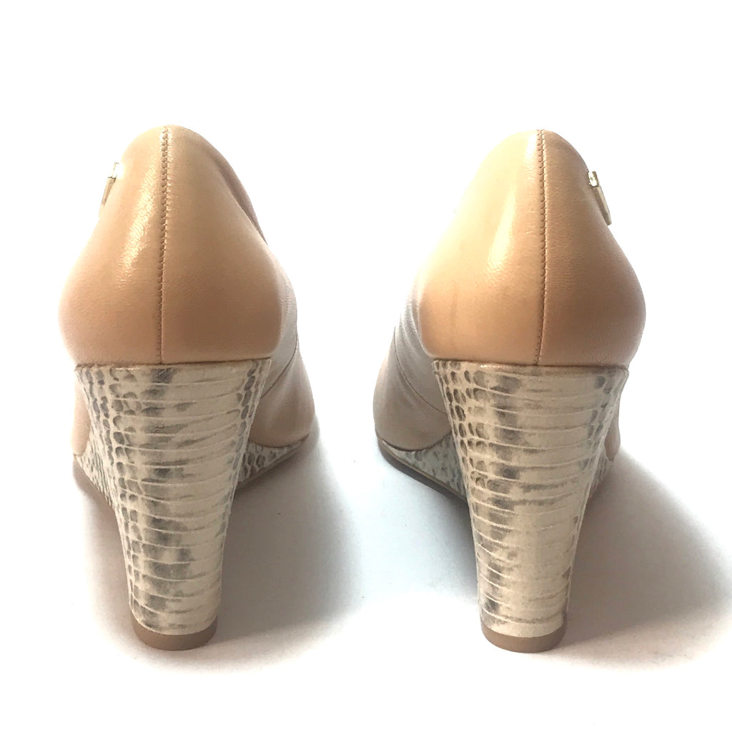 Calvin Klien Beige Leather & Snakeskin Wedges | Like New | - Secret Stash