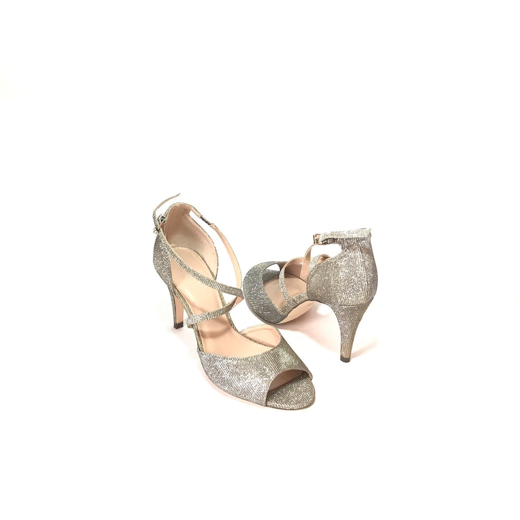 Carvela by Kurt Geiger Silver Glitter Peep-Toe Heels | Gently Used |
