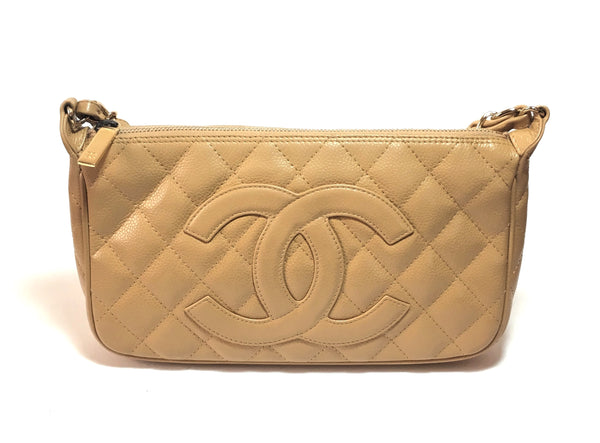 Chanel Beige Quilted Caviar Leather CC Timeless Shoulder Bag | Pre Loved |