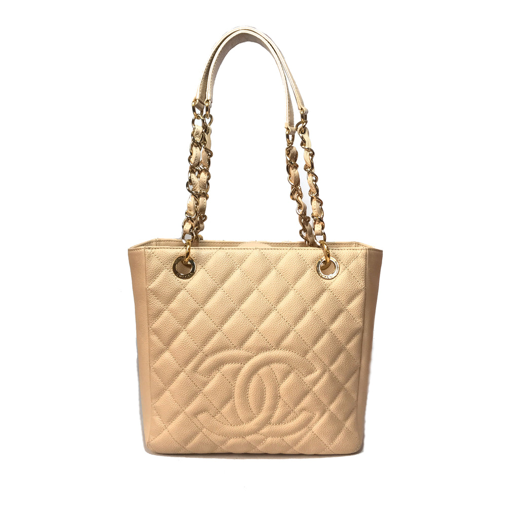 Chanel Beige Caviar Leather Petite Shopping Tote | Gently Used |