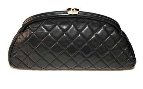 Chanel Kiss Lock Black Lambskin Leather Timeless Half Moon Clutch | Pre Loved |