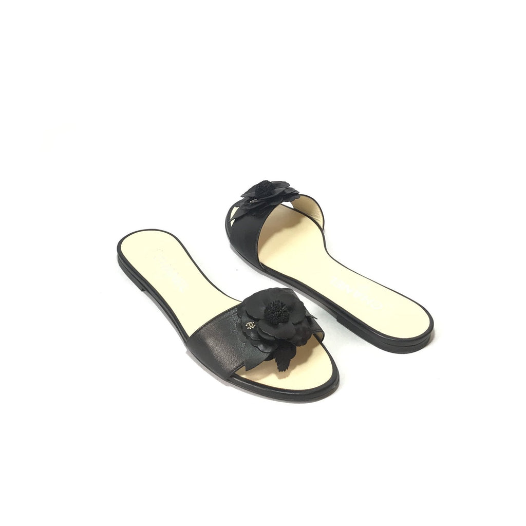 Chanel Black Leather 'Camellia Flower' Flat Sandals | Gently Used | - Secret Stash