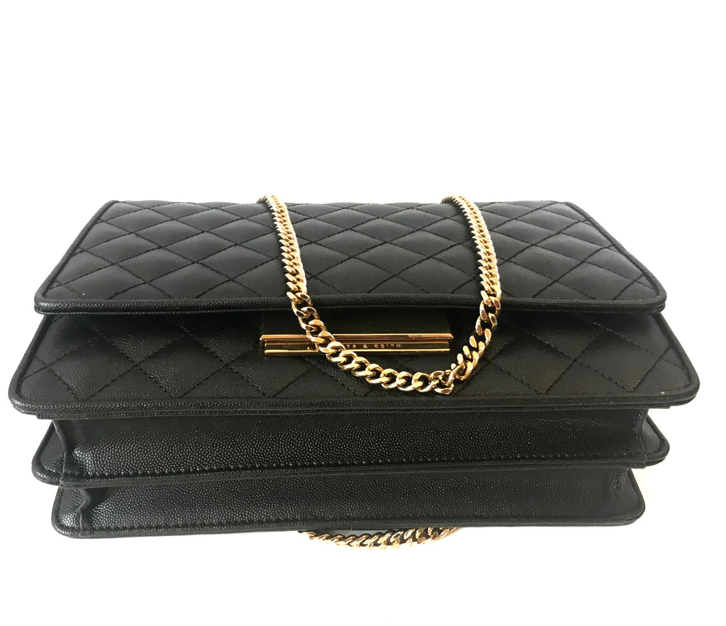 Charles & Keith Black Quilted Leather Flap Bag | Gently Used | - Secret Stash