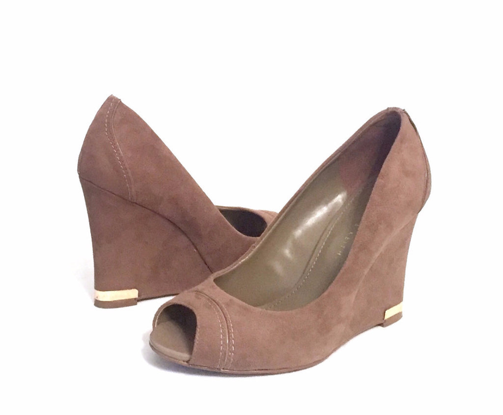 Charles & Keith Taupe Suede Wedges | Gently Used | - Secret Stash