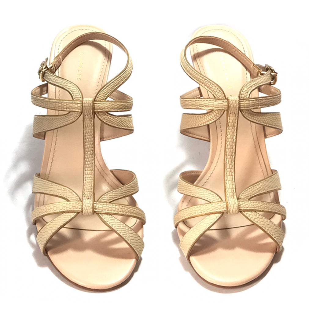 Charles & Keith Beige Multi Strap Heels | Like New | - Secret Stash
