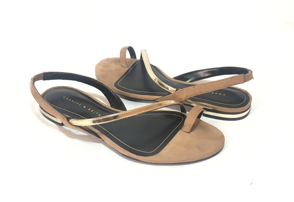 Charles & Keith Tan & Gold Sandals | Gently Used |
