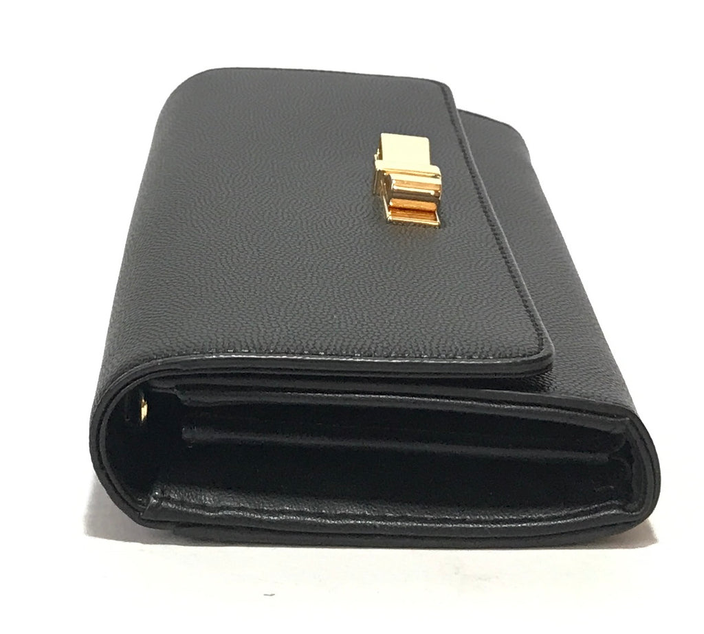 Charles & Keith Black Leather & Gold Bow Wallet | Gently Used |