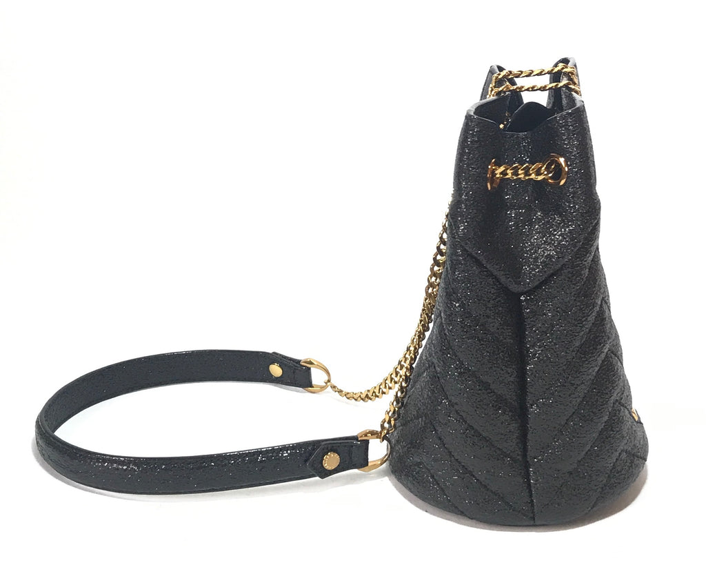 Charles & Keith Black Metallic & Gold Chain Bucket Bag | Like New |