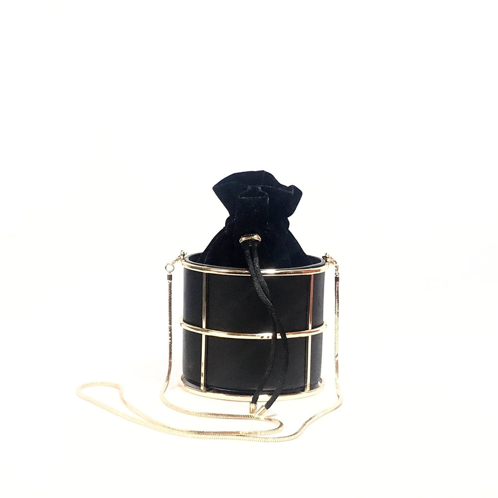 Charles & Keith Black & Gold Leather Bucket Bag | Like New |
