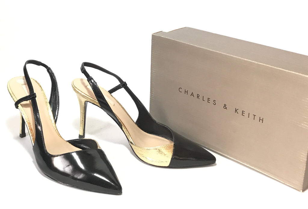 Charles & Keith Black & Gold Pointed Heels | Gently Used | - Secret Stash