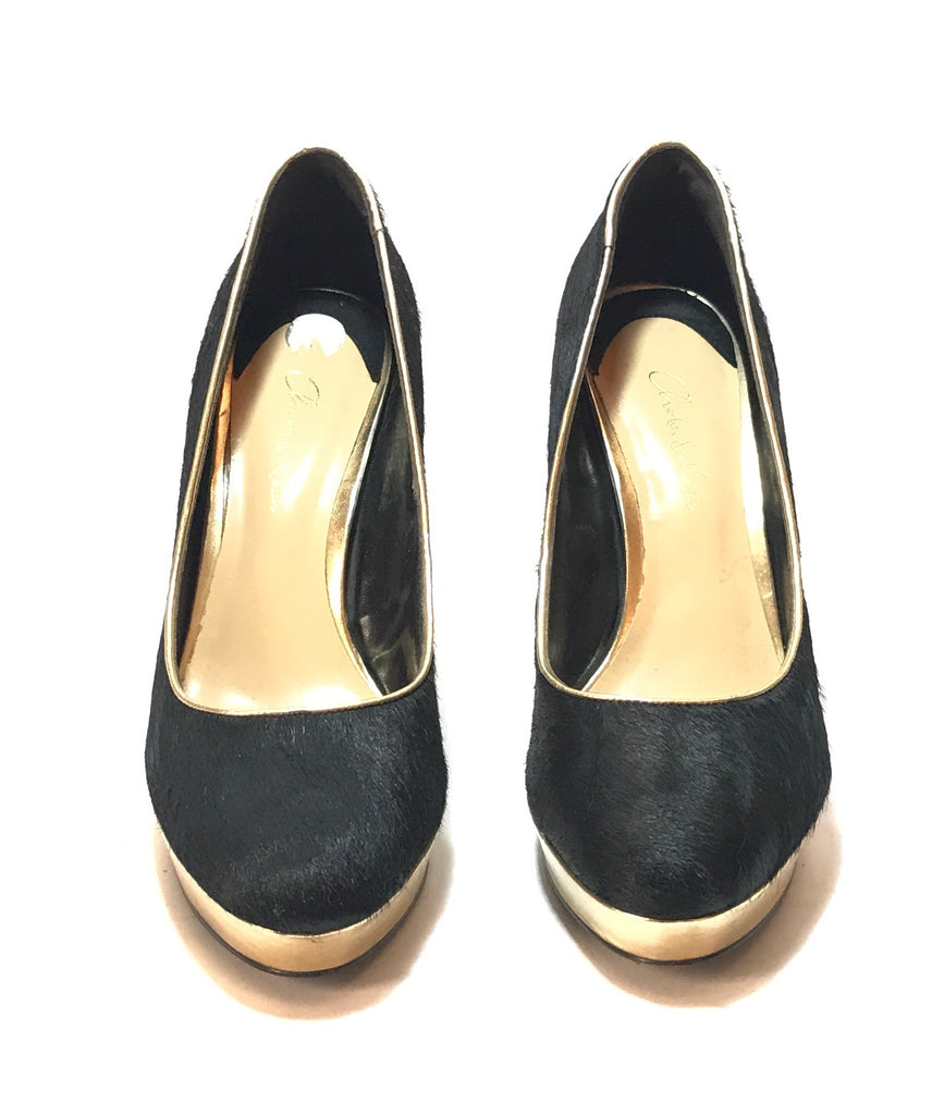 Charles & Keith Black & Gold Pony Hair Pumps | Pre Loved | - Secret Stash