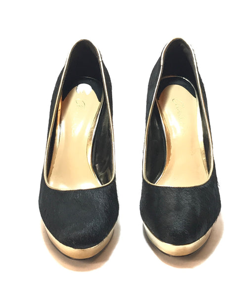 Charles & Keith Black & Gold Pony Hair Pumps | Pre Loved |