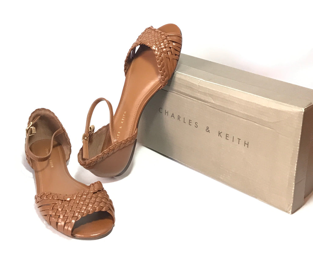 Charles & Keith Brown Woven Flat Sandals | Like New | - Secret Stash